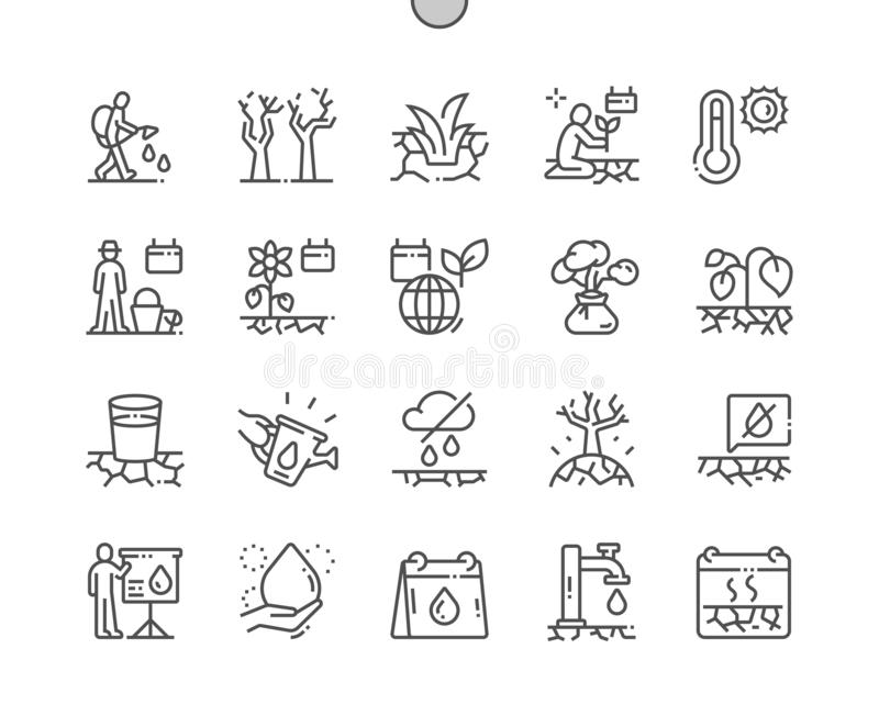World Day to Combat Desertification and Drought Well-crafted Pixel Perfect Vector Thin Line Icons royalty free illustration