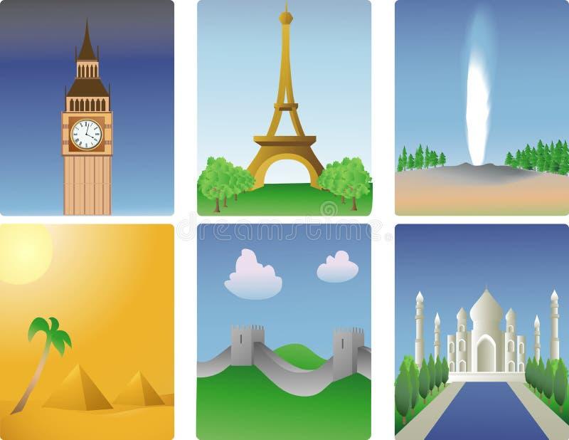 World destinations. Vector illustration of various world destinations vector illustration