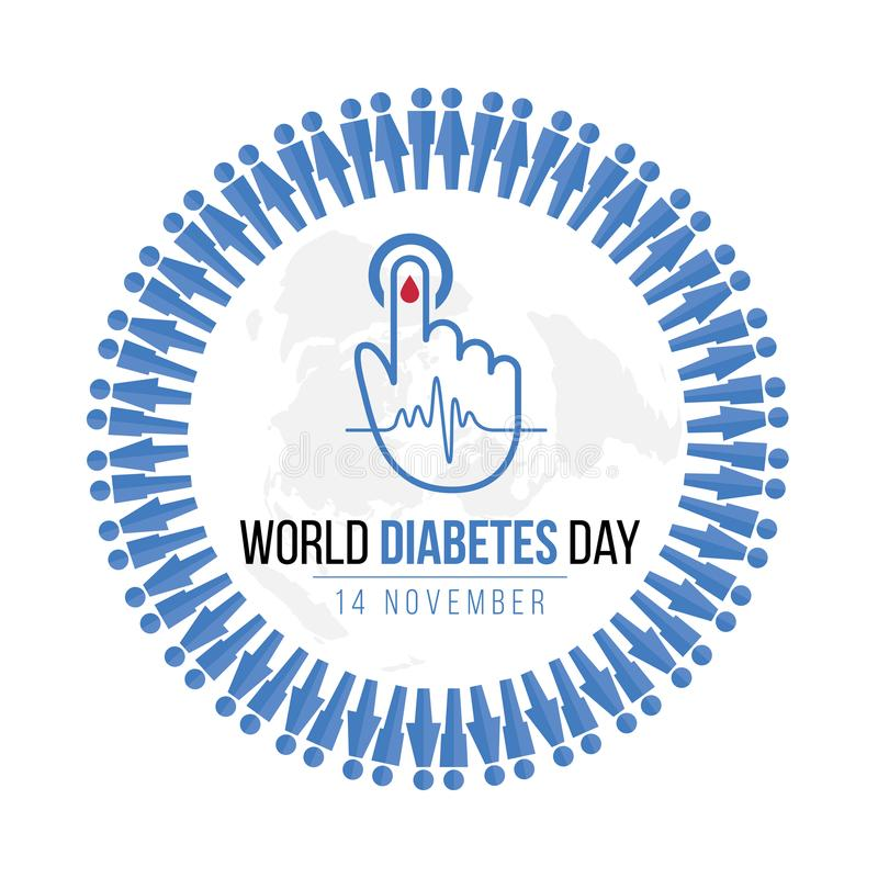 World Diabetes Day Awareness with blue Human icon circle and Blood drop on hand for blood sugar level and Wave pulse sign on map stock illustration