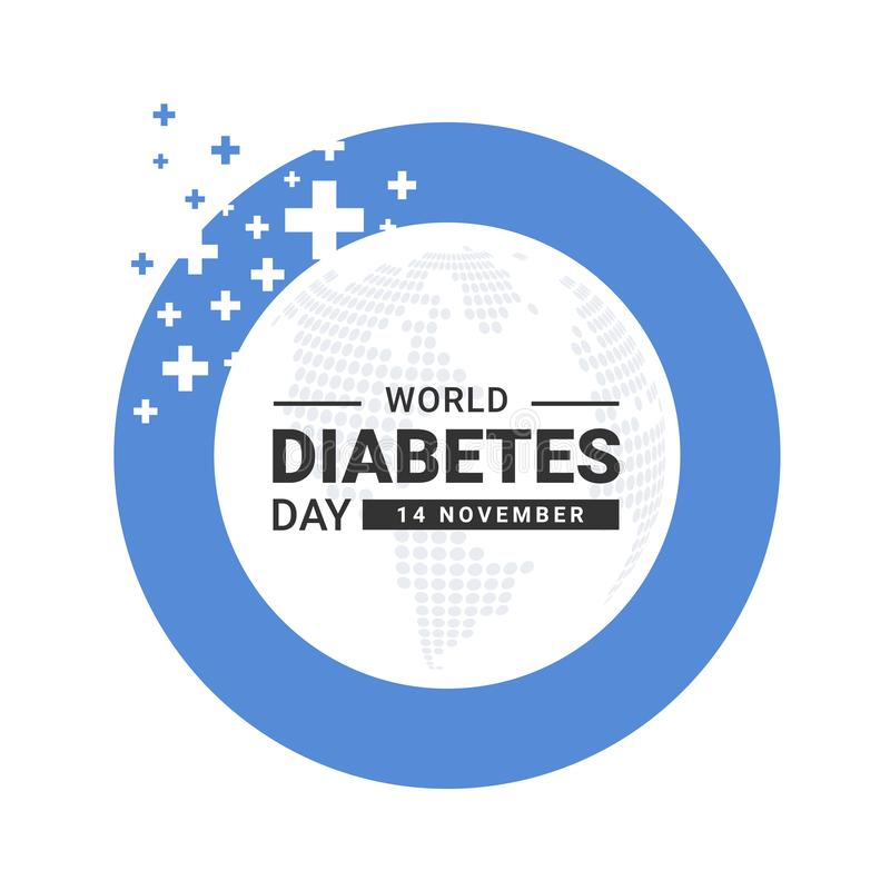 World diabetes day banner -  circle ring blue frame with abstract cross sign and dot map world texture background vector design stock illustration