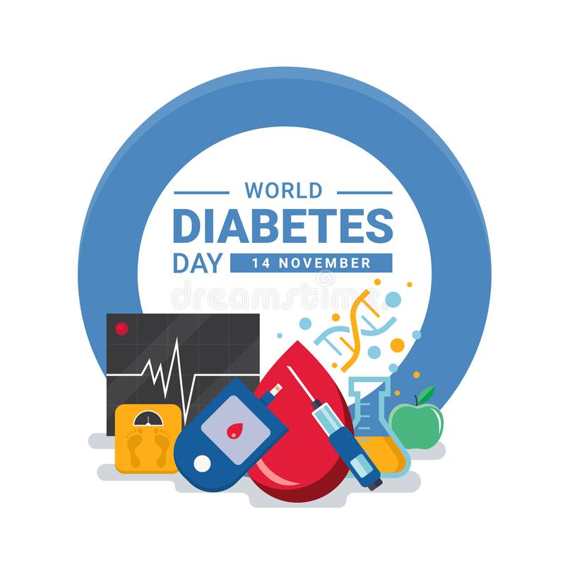 World diabetes day banner with drop Blood , DNA sign ,Glucose testing , heart wave apple and Scales in blue circle ring vector vector illustration