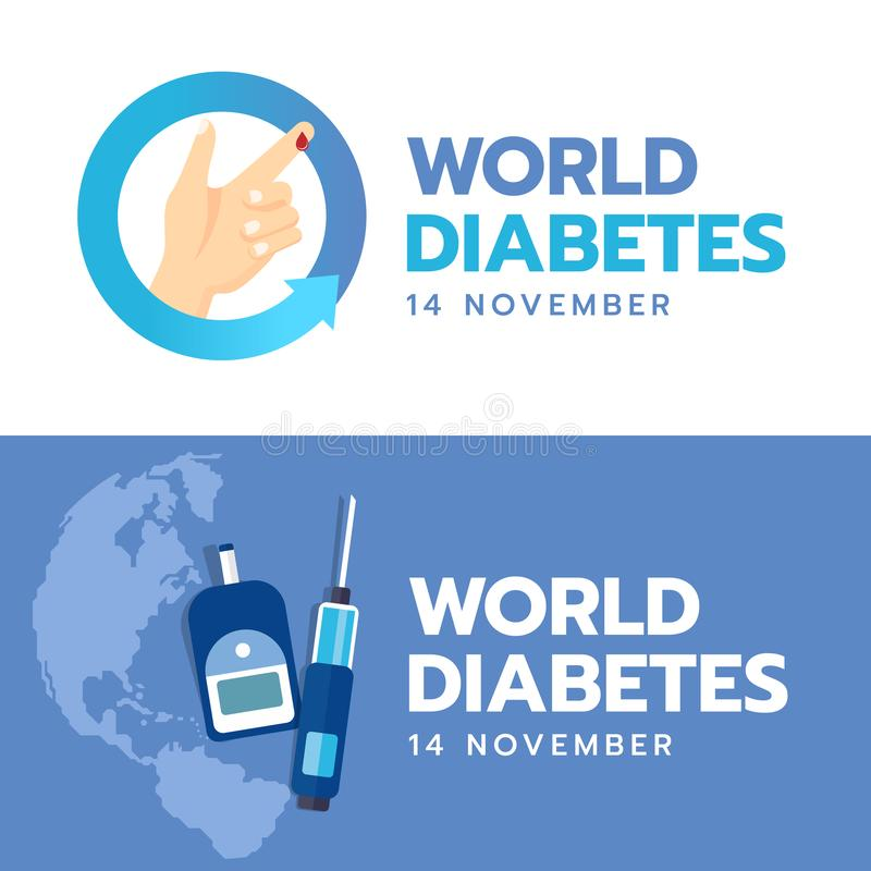 World Diabetes Day banner with hand and Blood drop sign in blue arrow circle and Blood Sugar Test on blue earth world background v stock illustration