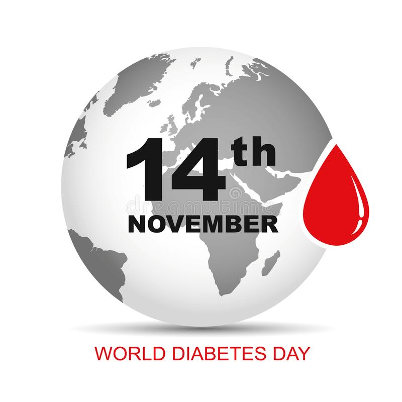 World diabetes day blood drop earth stock illustration