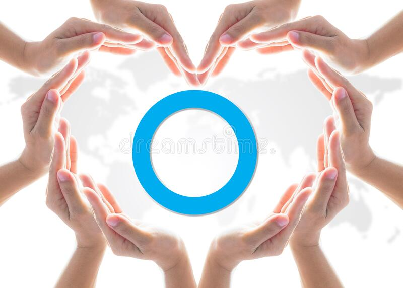 World diabetes day concept with blue circle symbolic logo campaign for diabetic disease prevention screening awareness.  stock image