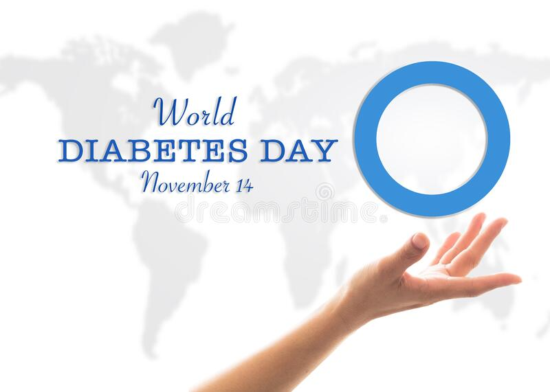 World diabetes day concept with blue circle symbolic logo on protective hands support for diabetic disease prevention screening. Awareness campaign royalty free stock photos