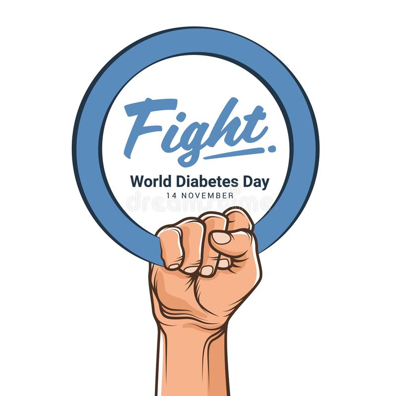 World diabetes day with hand hold blue circle ring and fight text vector design royalty free illustration