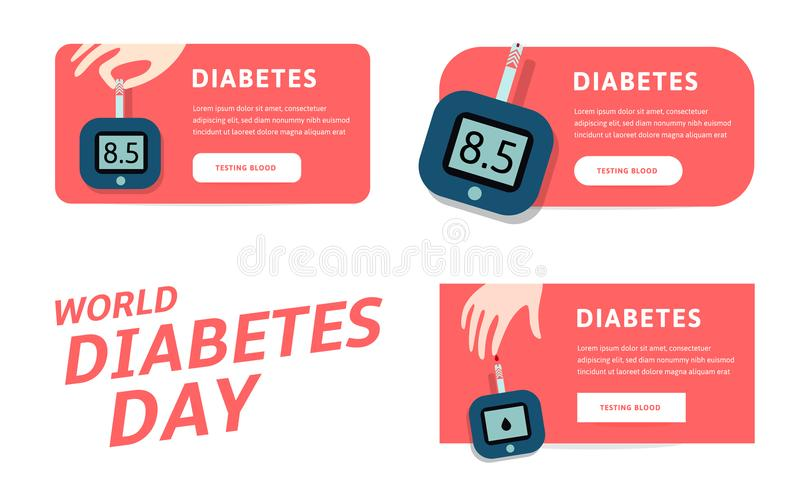World diabetes day, vector infographics template for web. Vector illustrations for pharmaceutical industry and people. With diabetes vector illustration