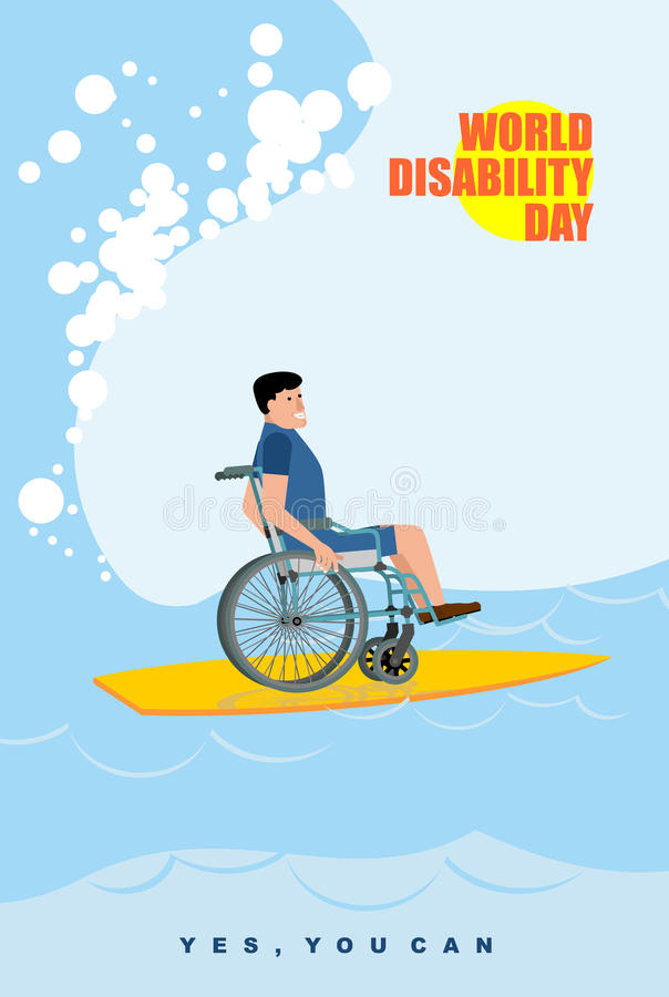 Free World Disabilities Day. Man In Wheelchair Floats On Board For Surfing. Disabled In Protective Suit Surf On Crest Of Wave In Royalty Free Stock Photography - 61646107