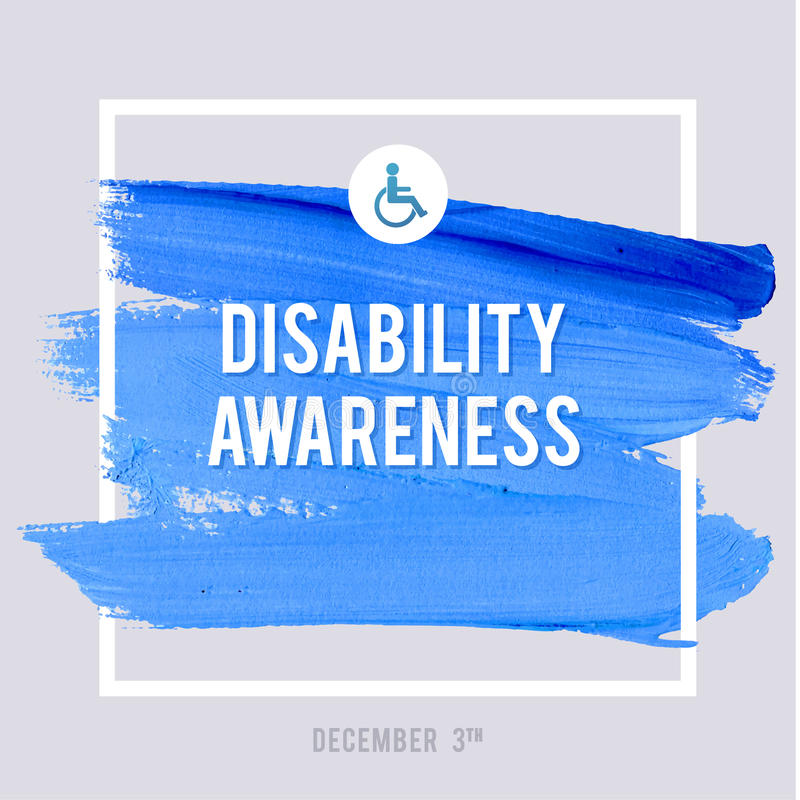 World Disability Day Typography Watercolor Brush Stroke Design , vector illustration. Grunge Effect Important Poster. royalty free illustration