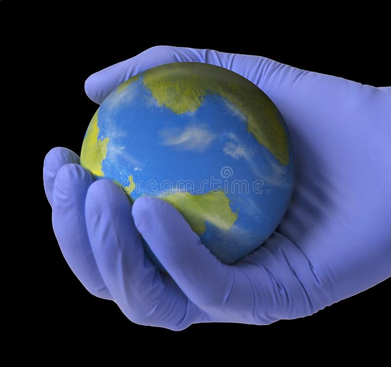 The world is on doctors`s medic hands by pandemic global crisis. royalty free stock image