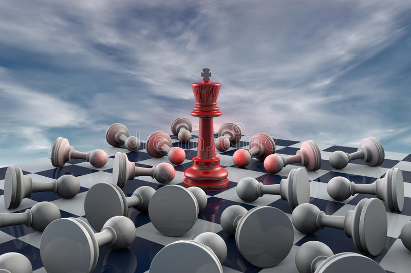 World Domination. Red king and many gray pawn (fantastic background royalty free illustration