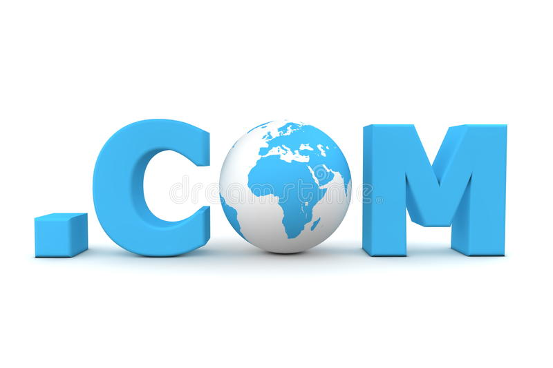 World Dot Com. 3D globe with word dot com in blue - front view stock illustration