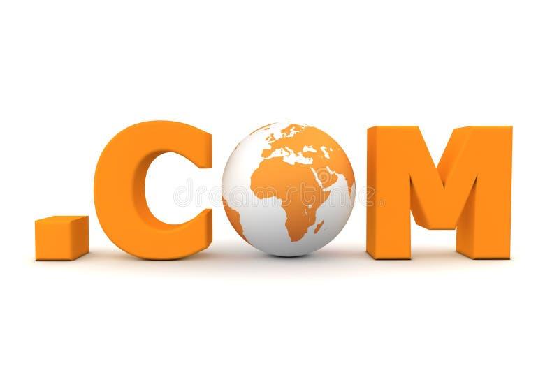 World Dot Com Orange. 3D globe with word dot com in orange - front view stock illustration