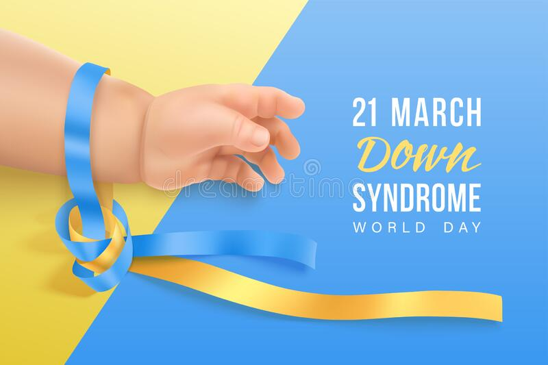 World Down syndrome day horizontal banner with blue and yellow ribbon. Down syndrome world day vector poster with blue and yellow photorealistic ribbon on baby royalty free illustration