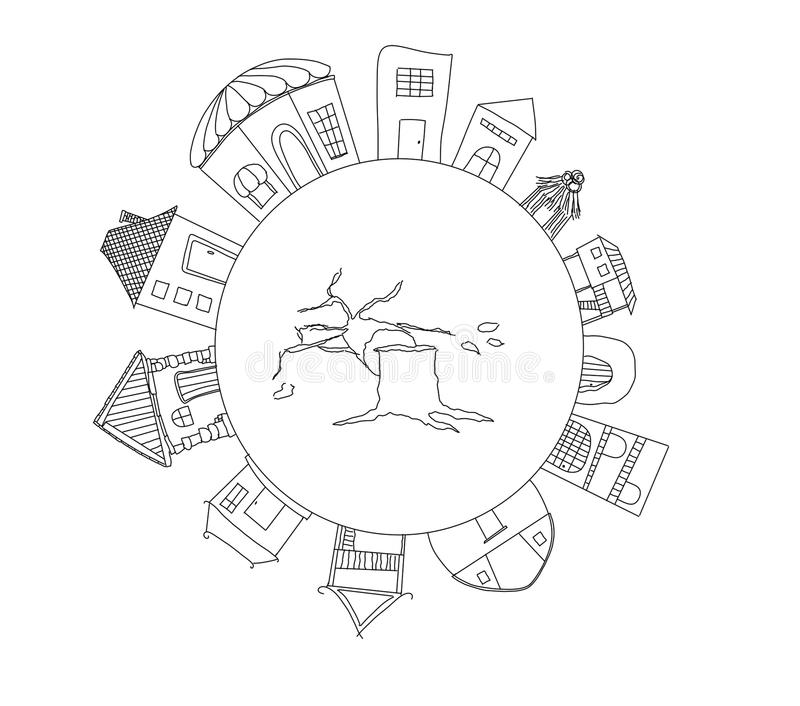 World. Draw a picture of many houses around the world, Save the world concept stock illustration