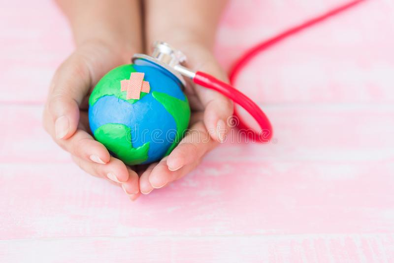 World Earth Day April 22 and World health day, April 7 concept. stock photos