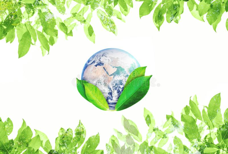 World Earth Day, Environmental Abstract sign symbol. The world with green leaves. Element of this image are furnished by NASA stock photography