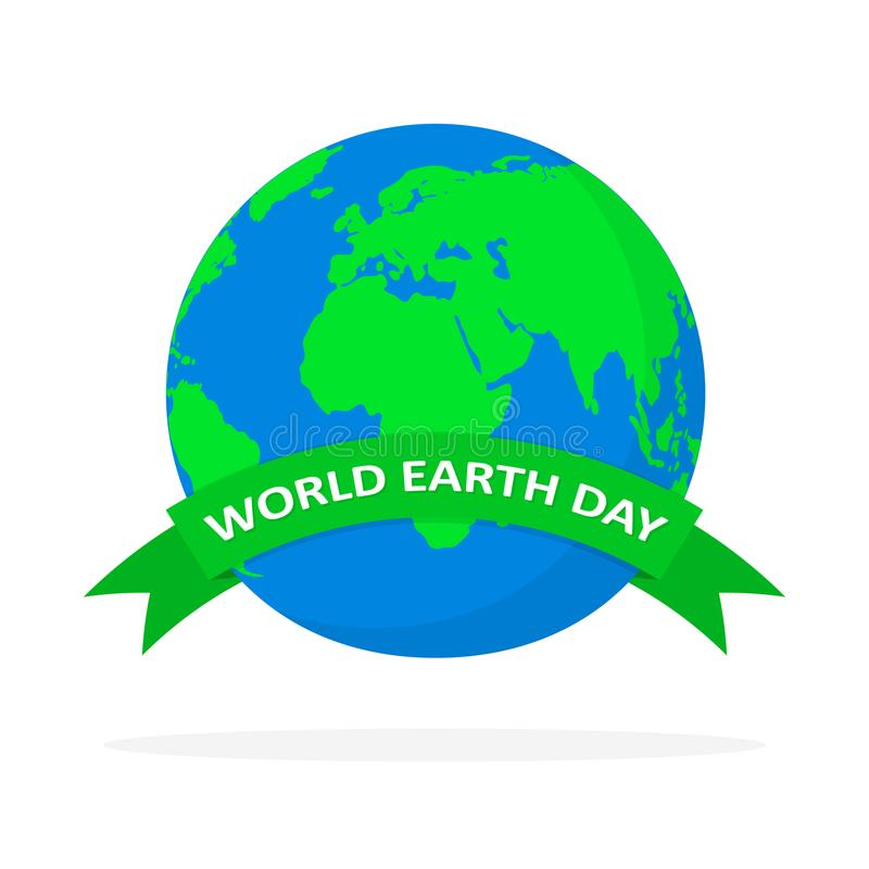 World Earth Day poster with globe and ribbon. Vector illustration. royalty free illustration