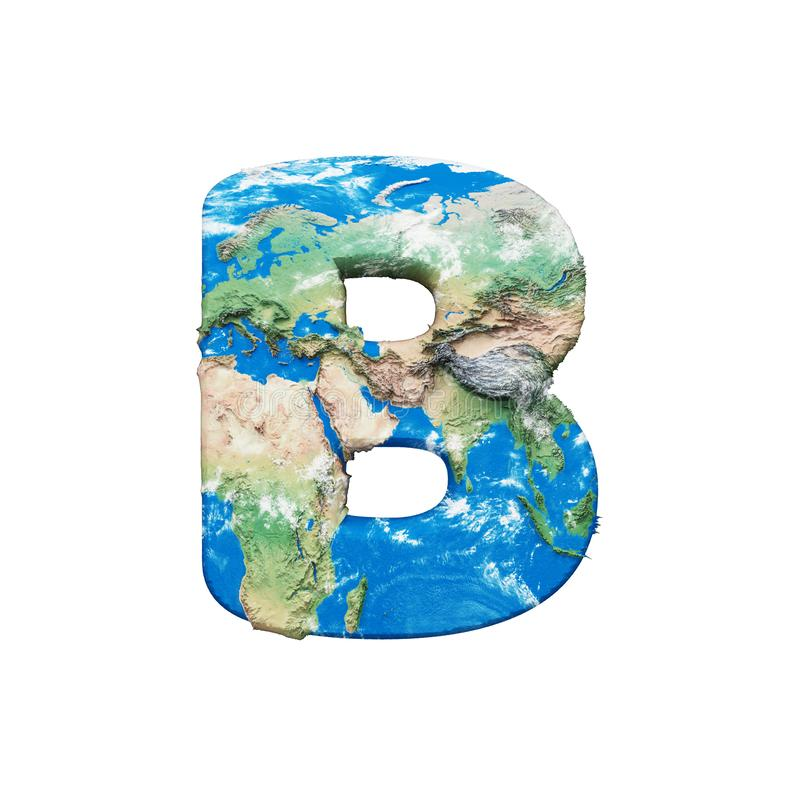 World earth globe alphabet letter B uppercase. Global worldwide font with NASA map. 3D render isolated on white background. royalty free illustration