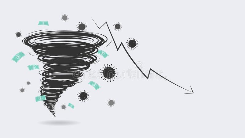 World economic crisis by corona virus illustration, a perfect storm of COVID-19. Disease makes everything in downturn royalty free illustration