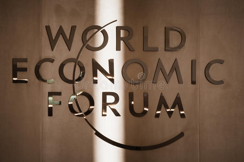 World Economic Forum i Davos (Schweiz) royaltyfria foton
