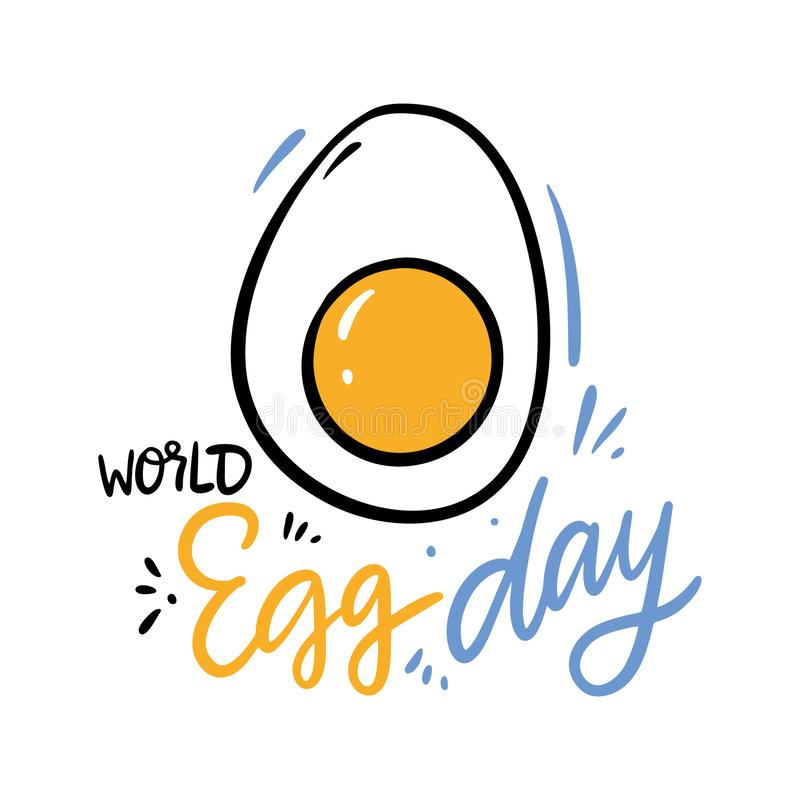 World Egg Day hand drawn vector lettering. Isolated on white background. vector illustration