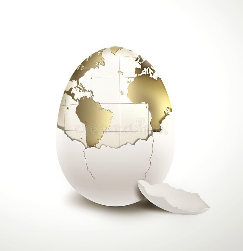 World in egg shell vector illustration