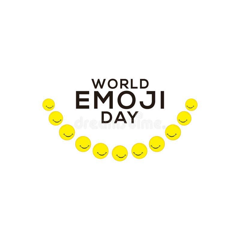 World Emoji Day Celebration Vector Template Design Illustration. International, card, face, isolated, icon, people, yellow, symbol, white, smile, man, fun royalty free illustration
