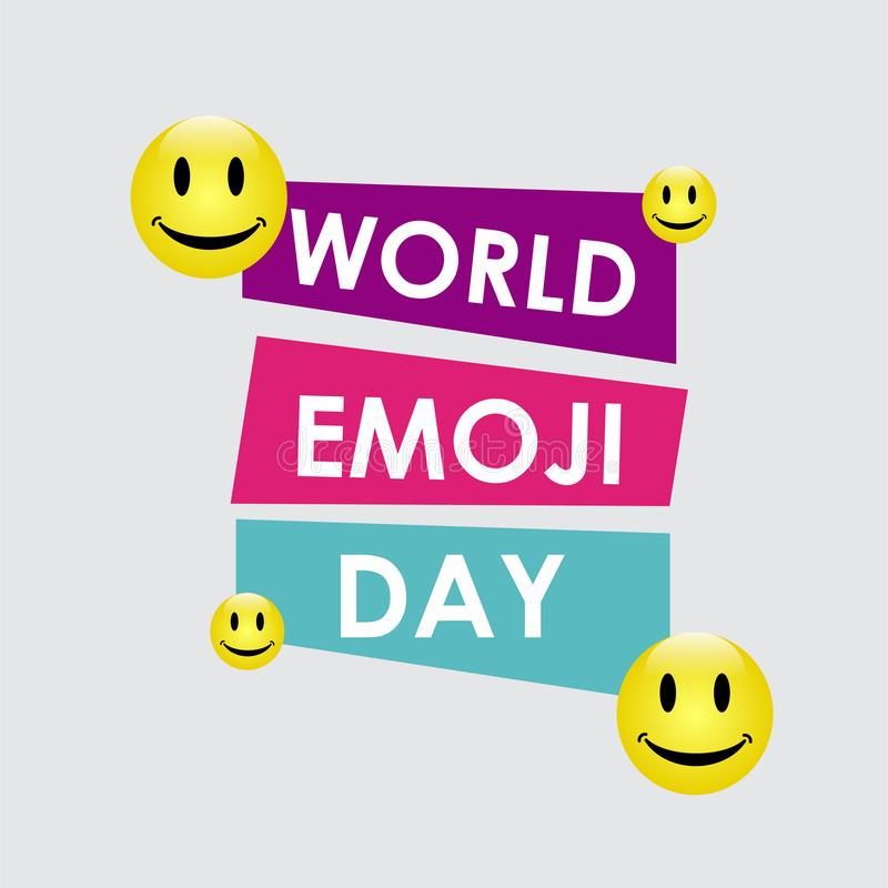 World Emoji Day Vector Template Design Illustration. White face isolated card people symbol yellow smile man fun banner icon cheerful joy cartoon set expression stock illustration