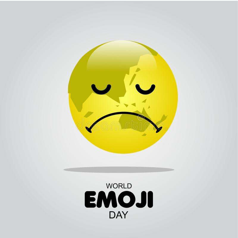 World Emoji Day Vector Template Design Illustration. White face isolated card people symbol yellow smile man fun banner icon cheerful joy cartoon set expression royalty free illustration