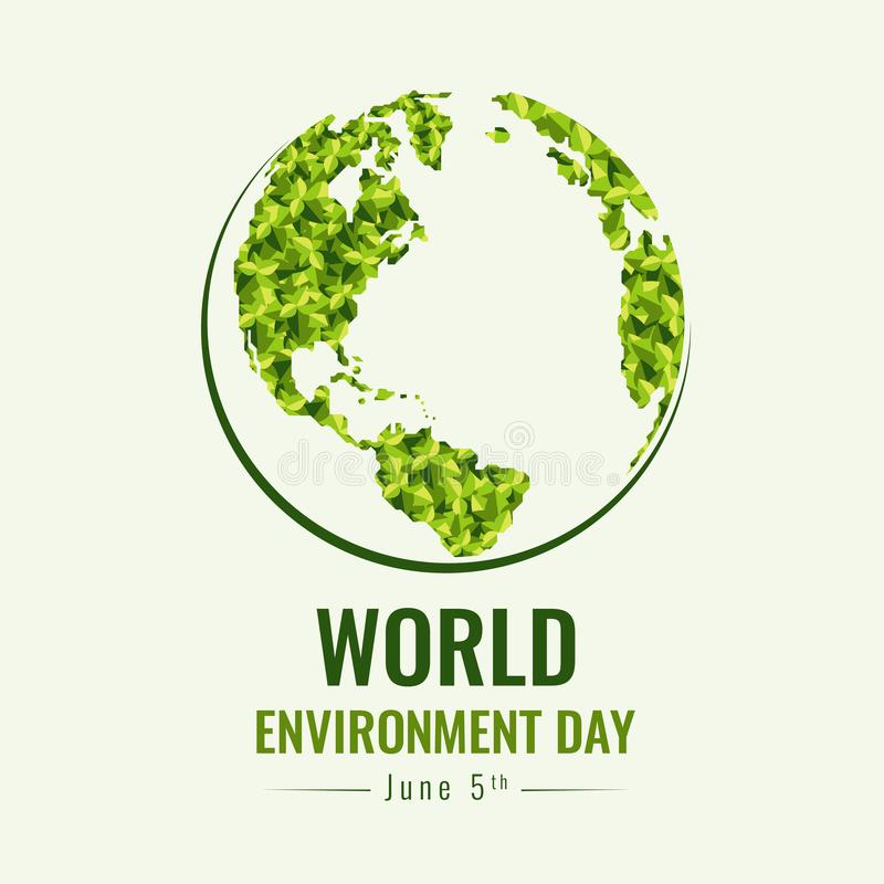 World Environment day banner with green abstract leaf texture on earth world sign vector design stock illustration