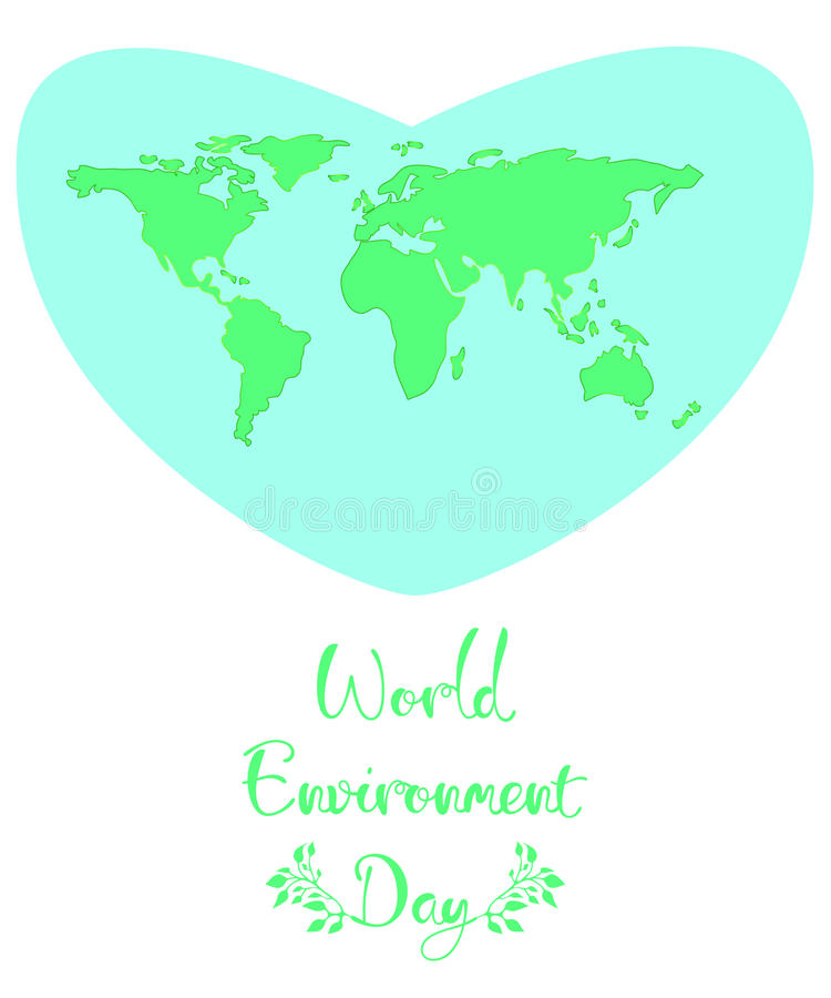 World Environment Day. A blue heart with green continents stock illustration