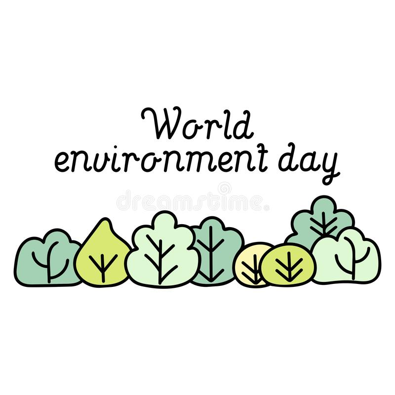 World Environment Day card. Background with cartoon trees royalty free illustration