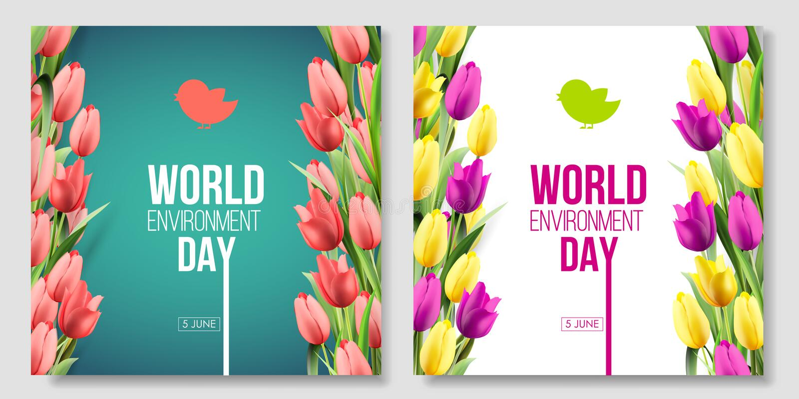 World Environment Day card banner on the green background with flowers tulips. Color living coral. 5 june eco bio nature. World Environment Day card, banner on vector illustration