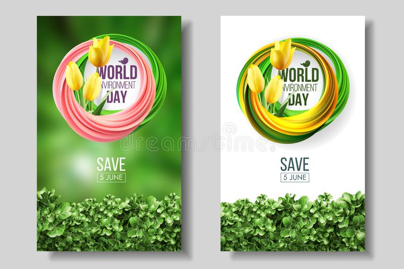 World Environment Day card, banner, logo on the green and white background living coral colors 5 june ecology bio nature. World Environment Day card, banner royalty free illustration