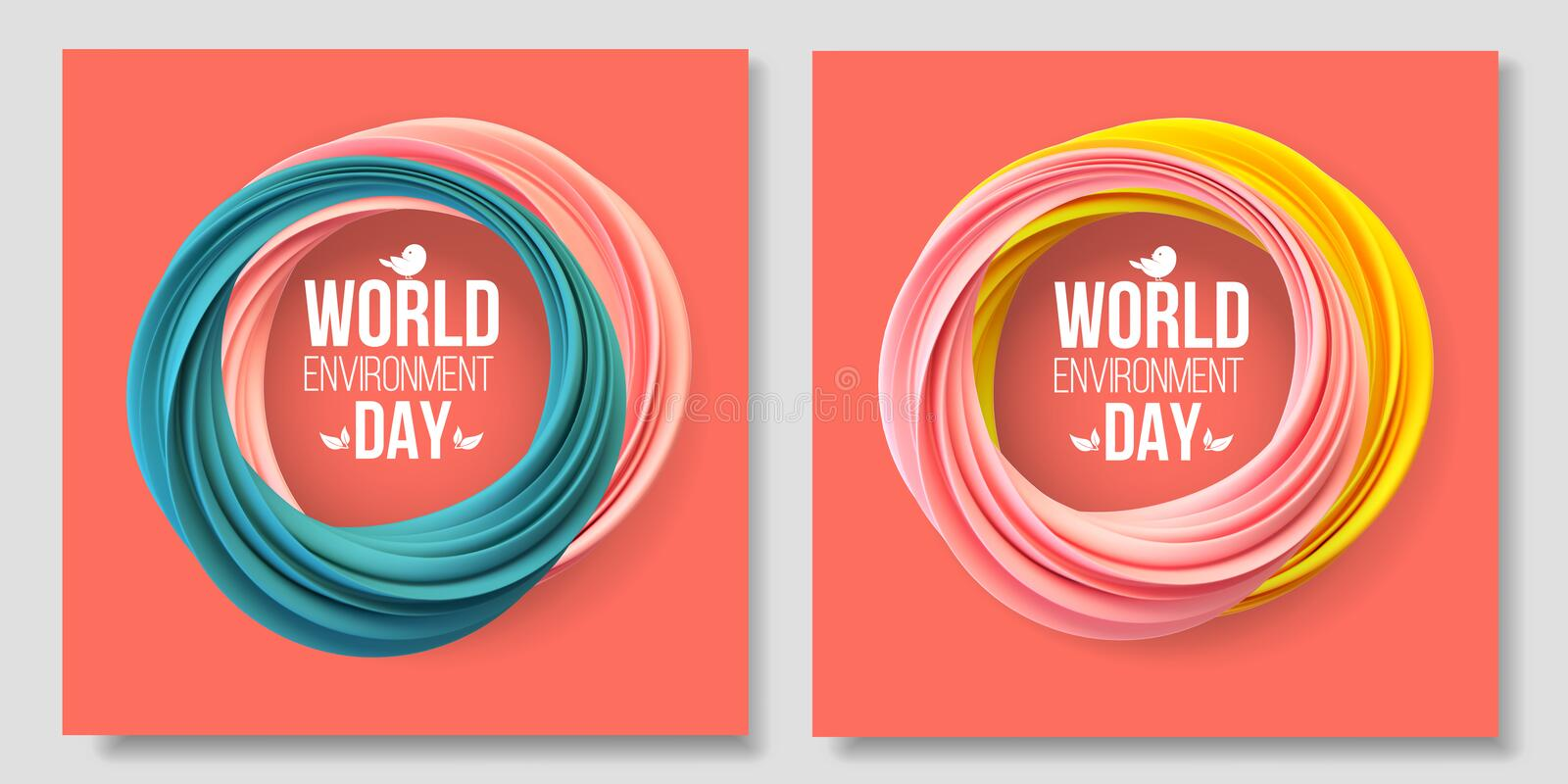 World Environment Day card, banner, logo on the living coral background. Abstract shapes. 5 june. Ecology, bio, nature. World Environment Day card, banner, logo stock illustration