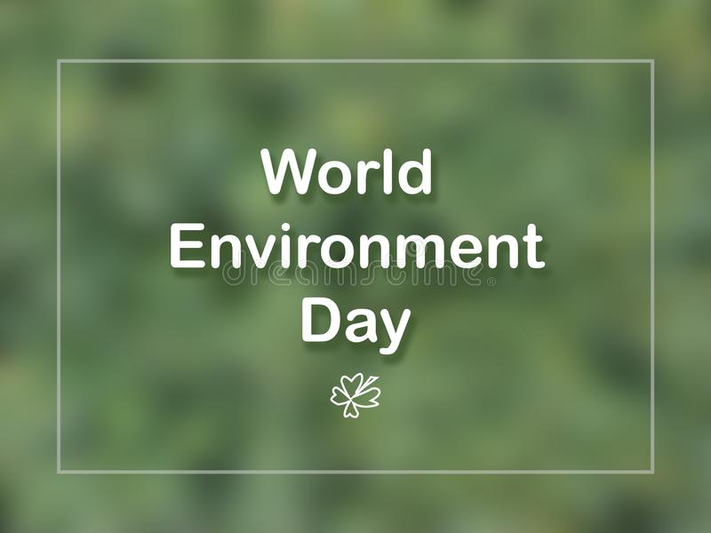 World Environment Day card  with leaf and frame on green background. royalty free stock images
