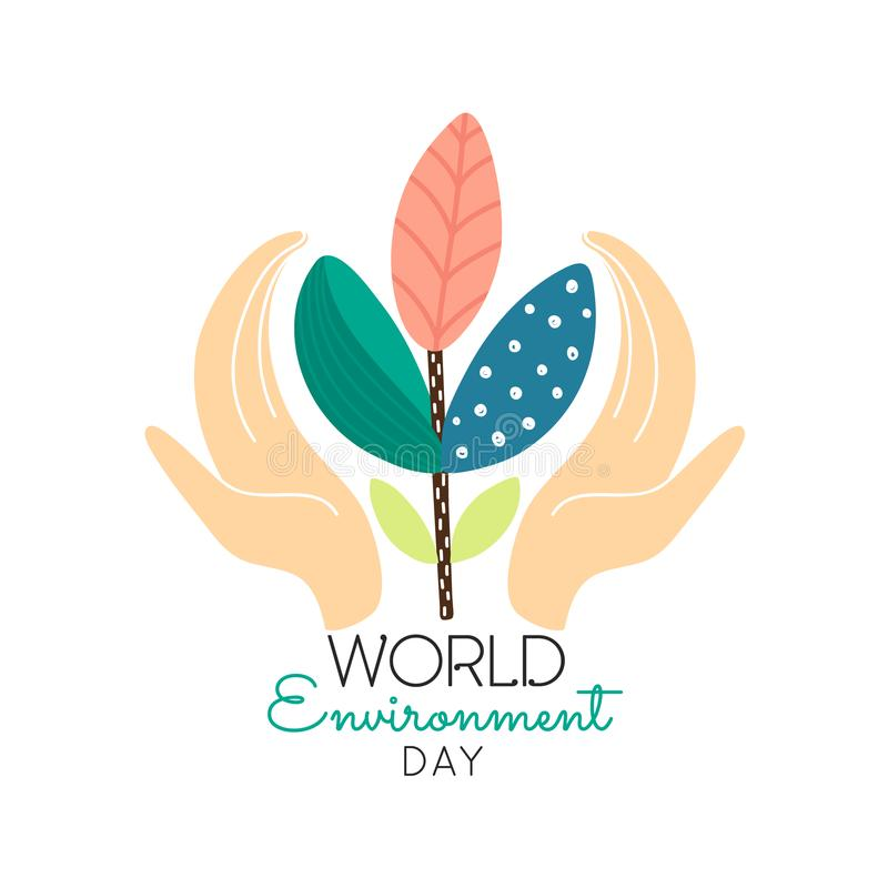 World environment day concept. Human hands holding abstract plant. Save nature. Eco friendly design. Banner, poster, invitation, card, brochure. Vector stock illustration