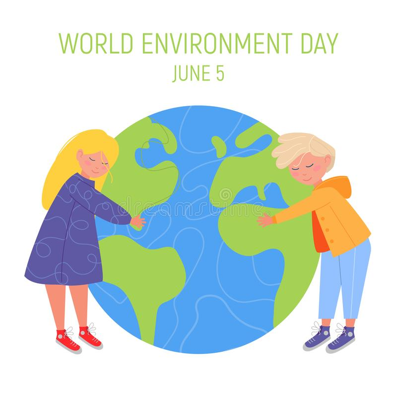 World Environment day concept. Little cute boy and girl are hugging planet. Save the earth. Green day. Concept design. For banner, greeting card, t-shirt, print royalty free illustration
