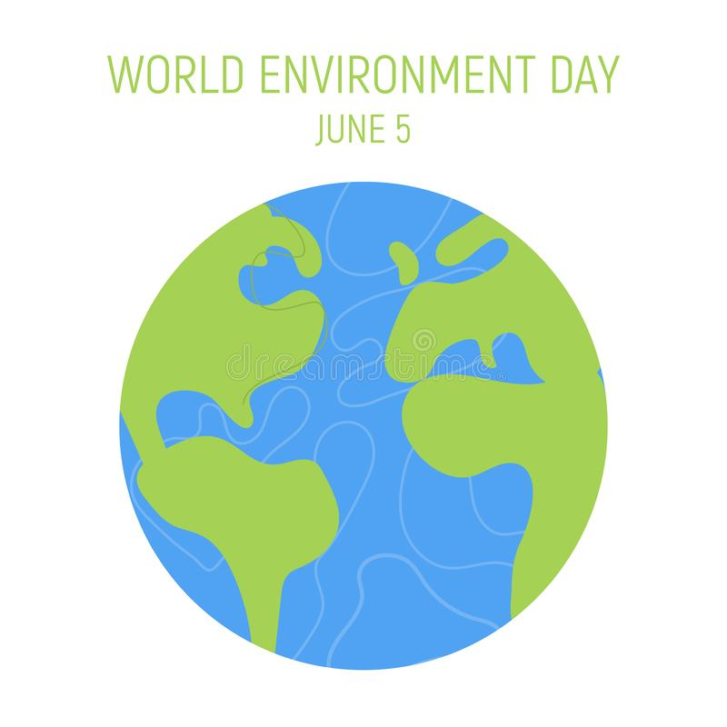 World Environment day concept. Little cute boy and girl are hugging planet. Save the earth. Green day. Concept design. For banner, greeting card, t-shirt, print stock illustration