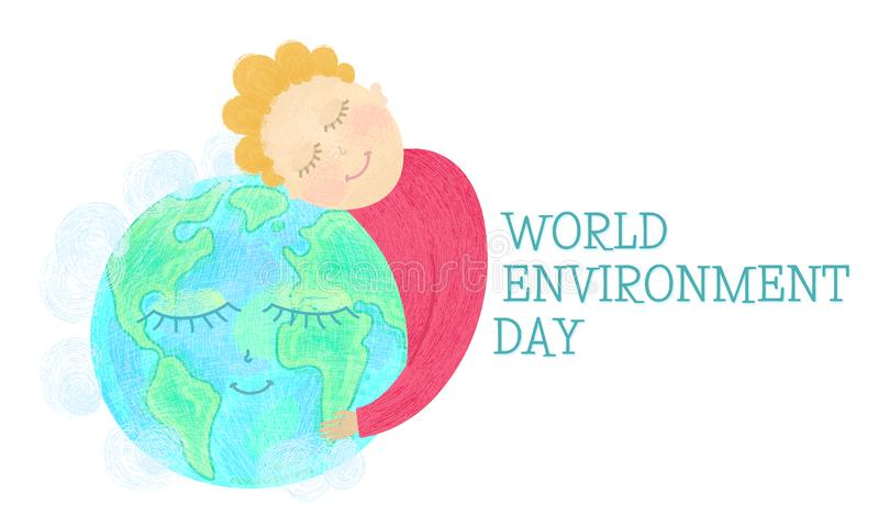 World environment day concept. Man hug Earth. Save nature. Hand drawn textured smiling characters. Ecology concept. Eco friendly design. Banner, poster, print royalty free illustration