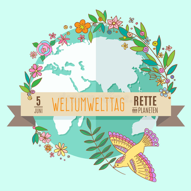 World environment day concept with mother earth globe. And green leaves and flowers on mint background. German translation of the inscription: World Environment vector illustration