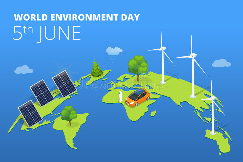 World environment day concept. Saving nature and ecology concept. Vector linear trees, electric car, alternative energy generators. Design for save earth day stock illustration