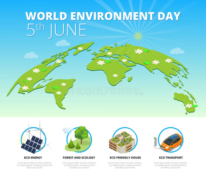 World environment day concept. Saving nature and ecology concept. Vector linear trees, electric car, alternative energy. Generators. Design for save earth day stock illustration