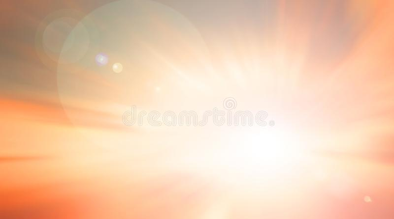 World environment day concept: Sun light and abstract blurred autumn sunrise background vector illustration