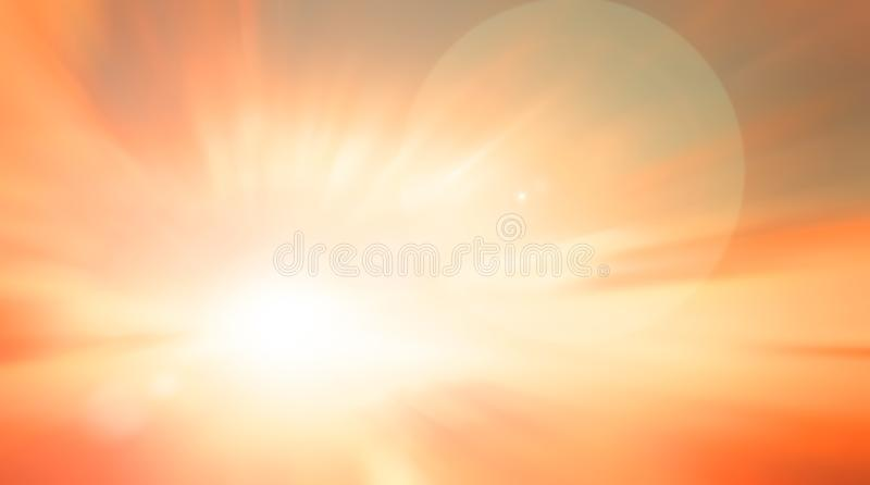 World environment day concept: Sun light and abstract blurred autumn sunrise background stock illustration