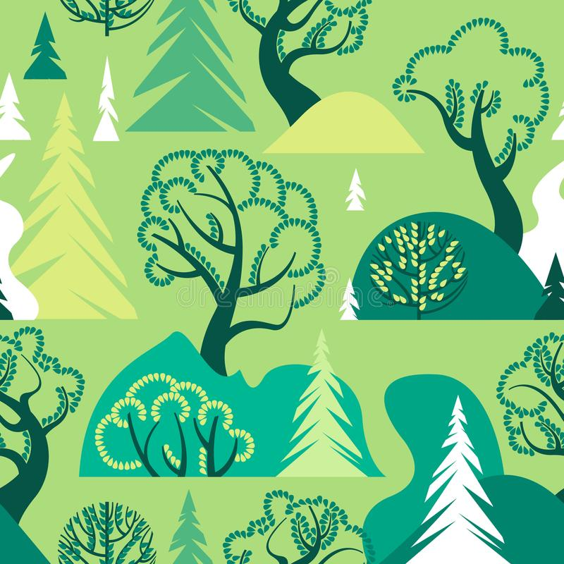 World Environment Day. Earth Day. Day of the forest. Ecological background. A seamless pattern with deciduous and coniferous trees vector illustration