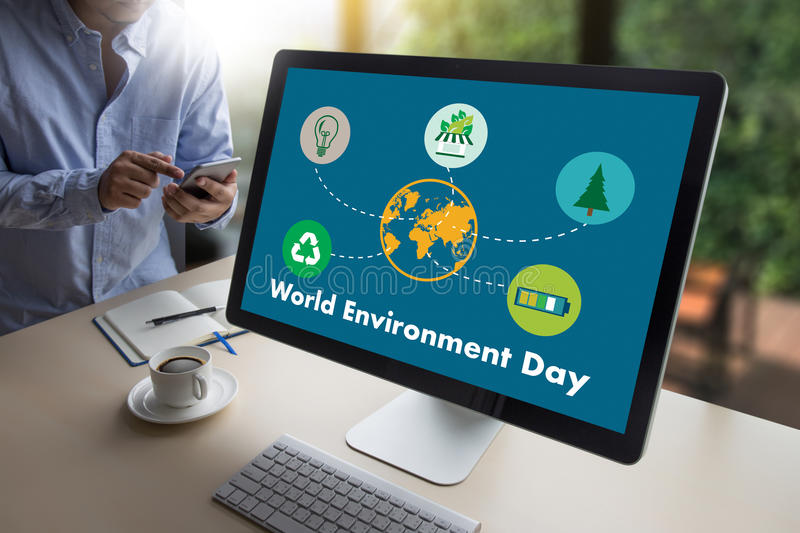 World environment day Earth globe Ecology tree and green leaf w stock image
