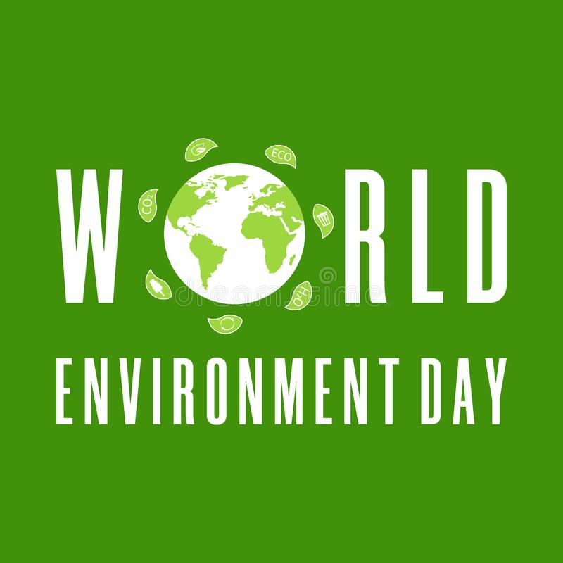 World Environment Day. Earth globe with leaves. Creative poster or banner. Ecology planet. Eco friendly design. Vector royalty free illustration