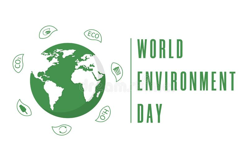 World Environment Day. Earth globe with leaves. Creative poster or banner. Ecology planet. Eco friendly design. Vector stock illustration